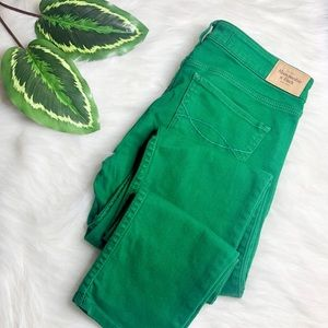 ABERCROMBIE Kelly Green Skinny Denim Jegging 4R